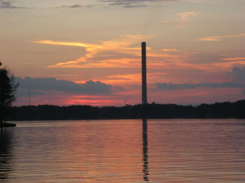Photo lake sinclair sunset with ga power plant in background for Lake sinclair fishing