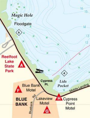 Reelfoot lake tennessee waterproof map fishing hot spots for Fishing hot spots maps