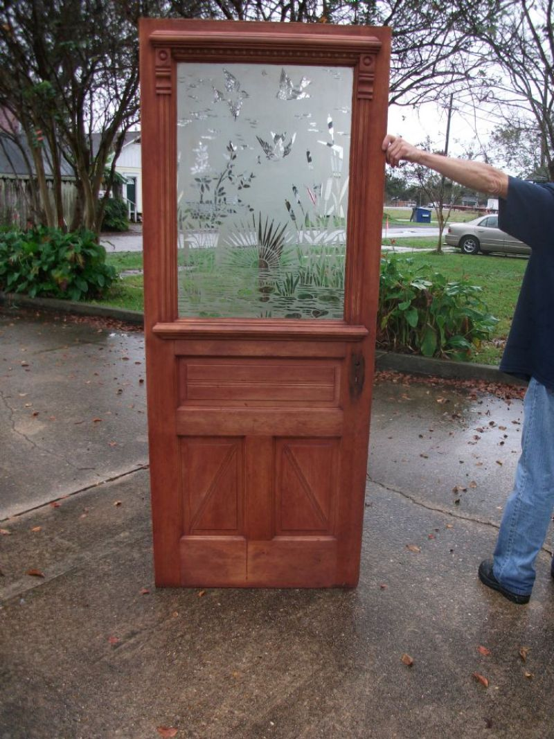 Antique stained glass doors - Antique Door With Etched Glass Panel