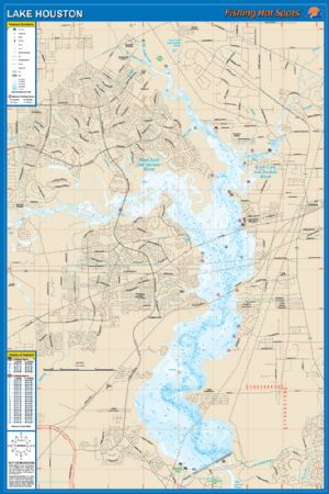 Lake houston waterproof map fishing hot spots lake maps for Places to fish in houston