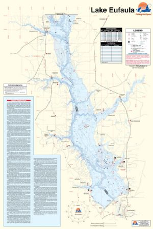 Lake Eufaula Map (Alabama/Georgia) Waterproof Map (Fishing Hot Spots ...