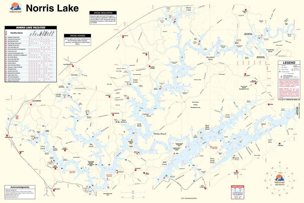 Norris Lake Tennessee Map.Norris Lake Tennessee Waterproof Map Fishing Hot Spots Lake Maps