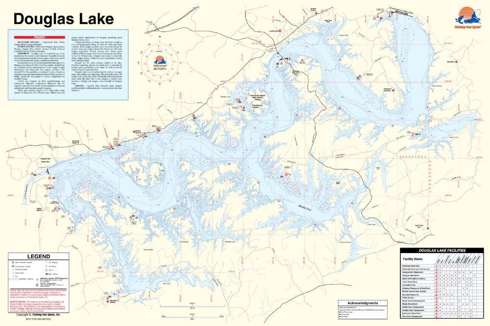 douglas lake fishing map Douglas Lake Tennessee Waterproof Map Fishing Hot Spots douglas lake fishing map