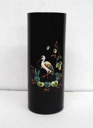 Victorian Black Amethyst Glass Vase With Enamel Decoration Heron Or
