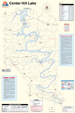 Center Hill Lake Tennessee Map.Center Hill Lake Tennessee Waterproof Map Fishing Hot Spots