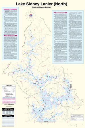 lake lanier fishing map Lake Sidney Lanier Georgia North Waterproof Map Fishing Hot lake lanier fishing map