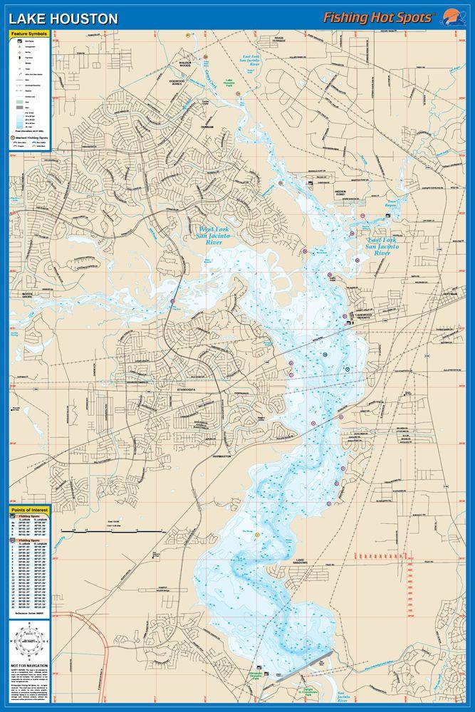 Lake Houston Waterproof Map (Fishing Hot Spots) – Lake Maps